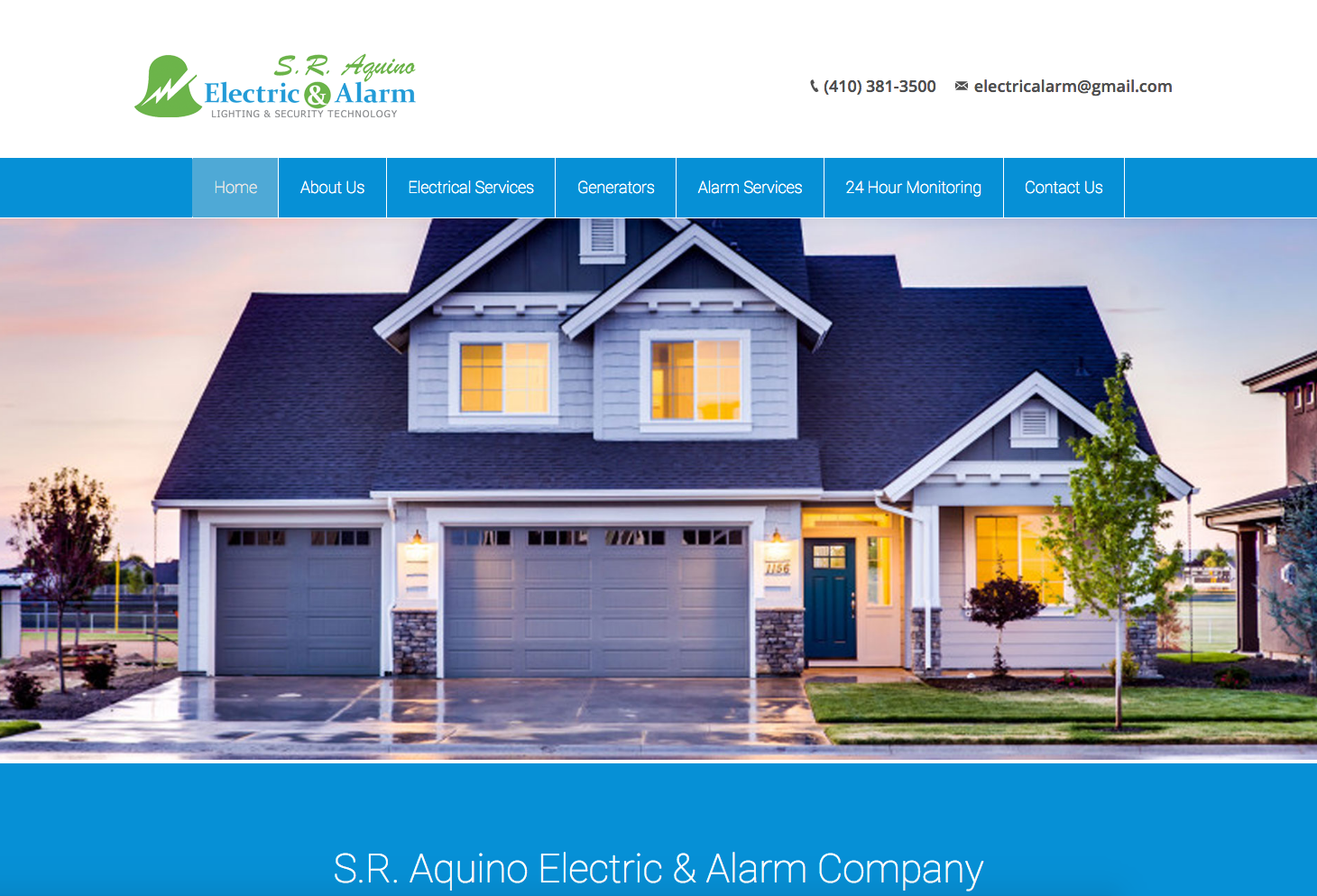 Steve Aquino Electric Alarm Company Website Design