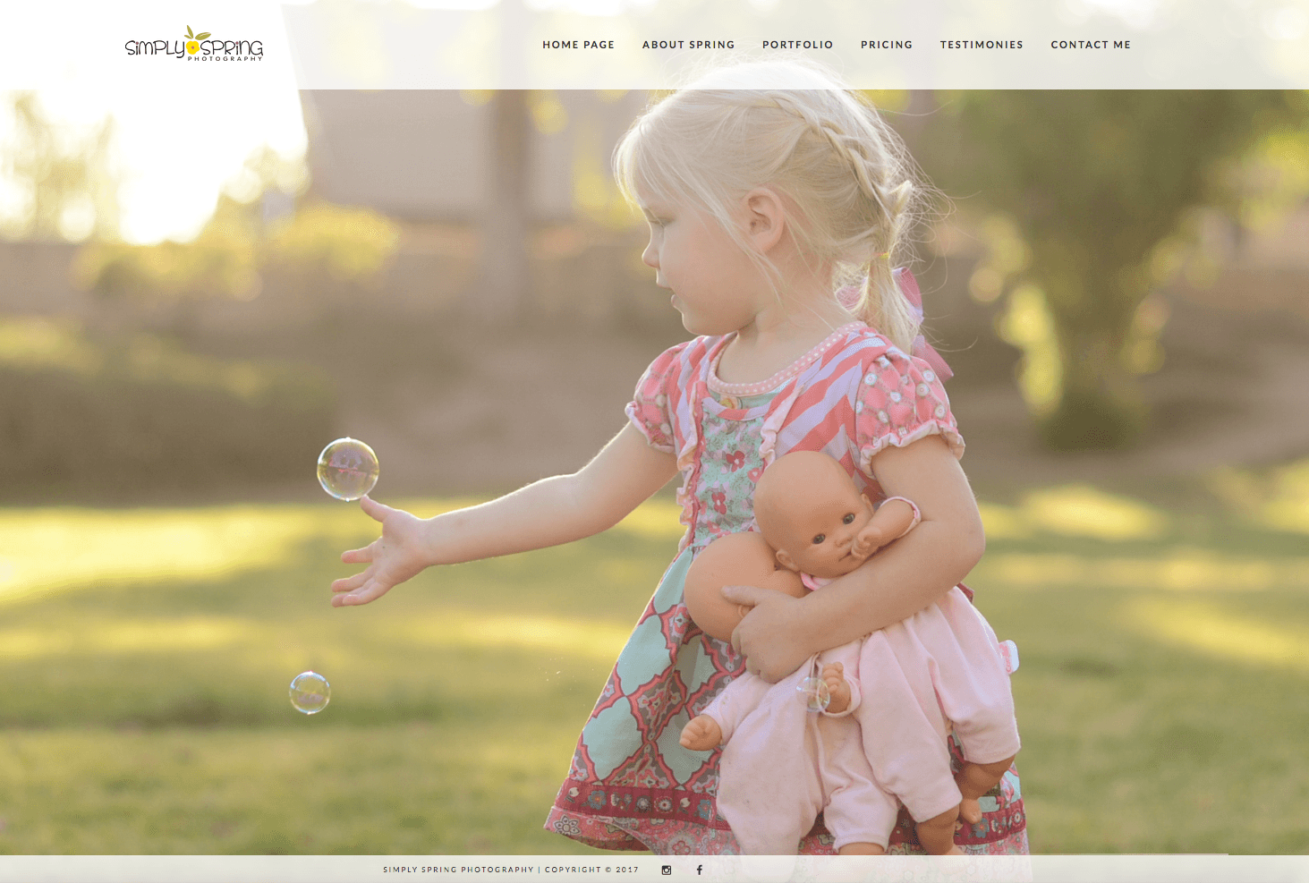 Simply Spring Photography Website Design