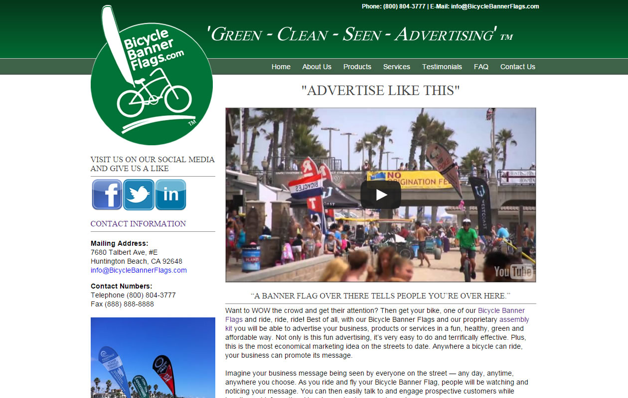 Bicycle Banner Flags Website Design